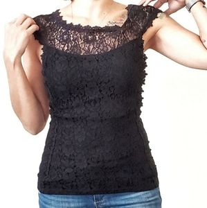 Express Lace Cuffed Sleeve Black Top